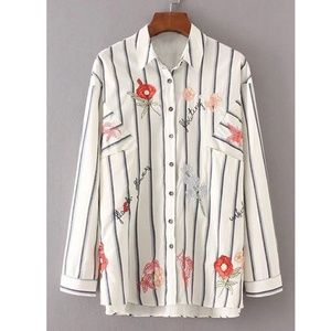 Tops - Rose Embroidery Striped High Low Blouse M